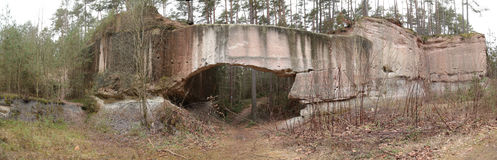 Panorama of stone arch in the old quarries near Wernsbach, Bavaria, Germany Stock Photo