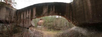 Panorama of stone arch in the old quarries near Wernsbach, Bavaria, Germany Royalty Free Stock Images