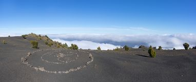 Panorama - Stone circle above the clouds royalty free stock photos