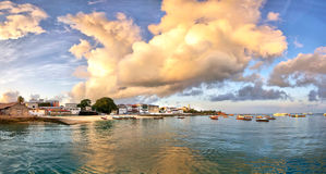 Panorama of Stone Town on Zanzibar island. In Tanzania during sunrise with dramatic clouds stock photos