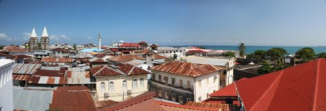 Panorama of stone town in zanzibar island stock photo