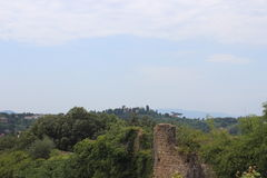 Panorama with a Stone Wall Royalty Free Stock Photo