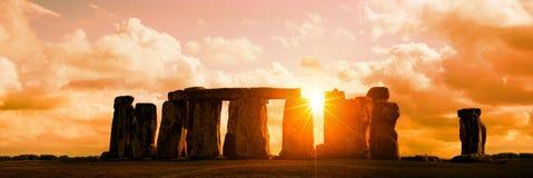 Panorama of Stonehenge at sunset, UK