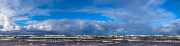 Panorama of a stormy sea. Stock Photo