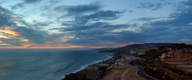 Panorama of The Strand Beach in Dana Point at sunset Stock Photography
