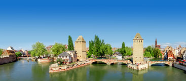 Panorama of   Strasbourg. Medieval bridge Ponts Couverts. Alsace, France Stock Photos