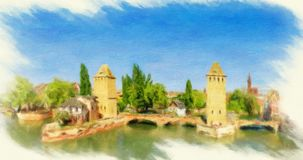 Panorama of Strasbourg, medieval bridge Ponts Couverts. Stock Image