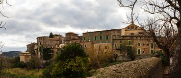 Panorama Street and architecture in Valdemossa, Mallorca side view. Spain. Horizontal Royalty Free Stock Photo