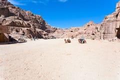 Panorama of Street of Facades, Petra Stock Photography