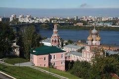 Stroganov church and Volga in Nizhny Novgorod. Panorama of Stroganov church and Volga river in Nizhny Novgorod, Russia Royalty Free Stock Photography