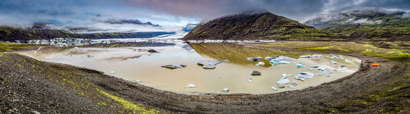Panorama of stunning Vatnajokull glacier and lake in Iceland Royalty Free Stock Photo