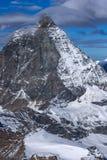 Panorama stupefacente del supporto il Cervino coperto di nuvole, alpi, Svizzera Fotografie Stock Libere da Diritti
