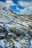 Panorama stupefacente del supporto il Cervino coperto di nuvole, cantone del Valais, alpi Fotografie Stock