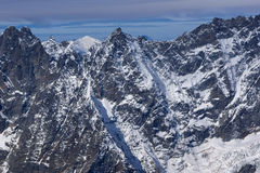 Panorama stupefacente di inverno delle alpi dal paradiso del ghiacciaio del Cervino Fotografia Stock