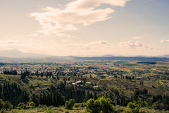 Panorama of the suburbs of the Greek city of Athens at sunset Royalty Free Stock Photography