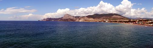 Panorama of Sudak. Black sea Royalty Free Stock Photography