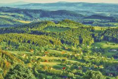 Panorama in the Sudeten Mountains royalty free stock photography