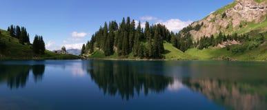 Panorama suizo del lago de la montaña Imagen de archivo libre de regalías
