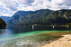 Panorama sul lago di Predil Tarvisio - l'Italia Fotografie Stock Libere da Diritti