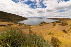 Panorama sull'isola del Sun, lago Titicaca, Bolivia Fotografie Stock