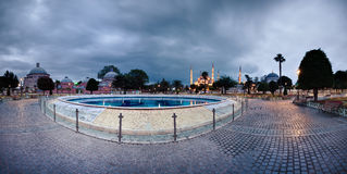 Panorama of Sultanahmet Blue Mosque Stock Photos