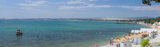 Panorama of summer beach stock photo