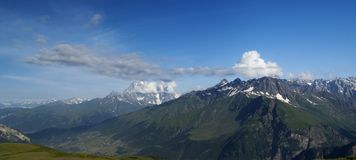 Panorama summer Caucasus Mountains Royalty Free Stock Image