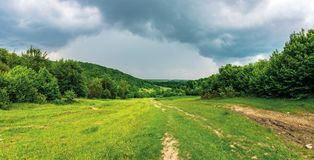 Panorama of a summer countryside in mountains. Path through meadow between forest. cloudy sky before the storm royalty free stock images