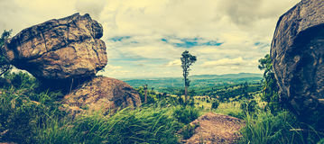 Panorama of the summer in the daytime, colorful landscape. Cross Stock Photography