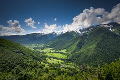 Panorama summer landscape with green hill mountain Stock Photo