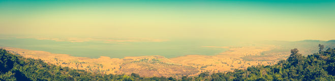 Panorama of the summer landscape. Vintage picture style. Outdoor Stock Photography