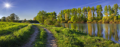 Panorama of summer morning on the river Stock Image