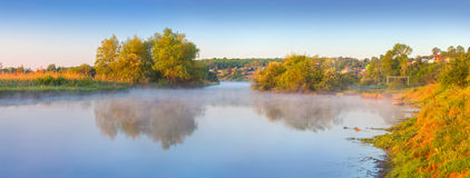 Panorama of the summer morning on river Royalty Free Stock Images