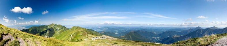 Panorama from summer mountain ridge Stock Photography