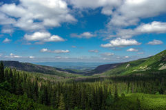 Panorama of summer mountains under the clouds Stock Photo