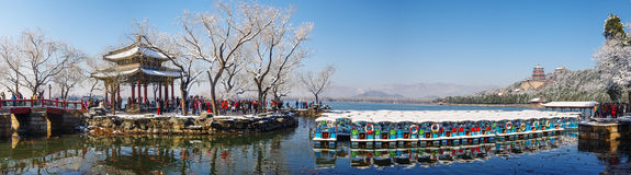 Summer palace in snow Royalty Free Stock Photo