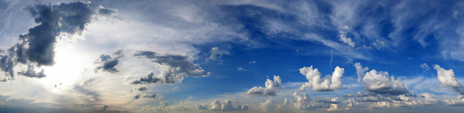 Panorama of a summer sky with clouds Royalty Free Stock Images