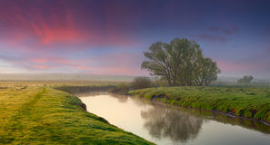 Panorama of summer sunrise Royalty Free Stock Images