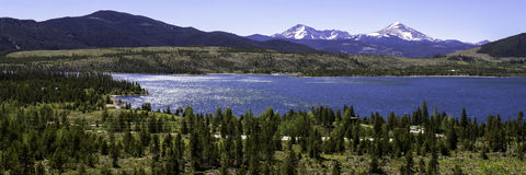 Dillon Reservoir in Colorado. Panorama of The Summit and Dillon Reservoir near Silverthorne in June stock photo