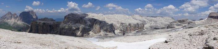 Panorama from the summit of Sass Pordoi. Dolomites. Italy. Panorama from the summit of Sass Pordoi. Dolomites. Italy Royalty Free Stock Photo