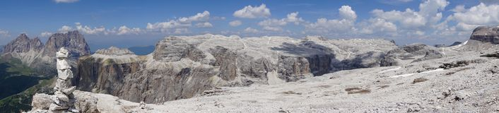 Panorama from the summit of Sass Pordoi. Dolomites. Italy. Panorama from the summit of Sass Pordoi. Dolomites. Italy Stock Images