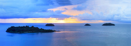 Panorama of sun set sky at koh chang island trat province import Royalty Free Stock Photos
