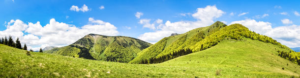 Panorama from sunny spring Little Fatra hills - Slovakia Royalty Free Stock Photography