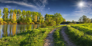 Panorama of the sunny summer morning on river Royalty Free Stock Photos