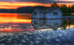Panorama of a sunrise on a lake Royalty Free Stock Photography
