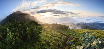 Panorama of sunrise in misty mountains Royalty Free Stock Photos