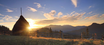 Panorama of sunrise in the mountains Stock Photo