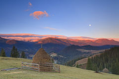 Panorama of sunrise in the mountains Royalty Free Stock Photography