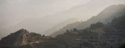 Panorama of sunrise in mountains Royalty Free Stock Images