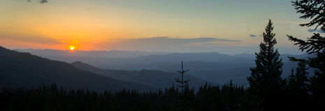 Panorama - sunrise in mountains Stock Images